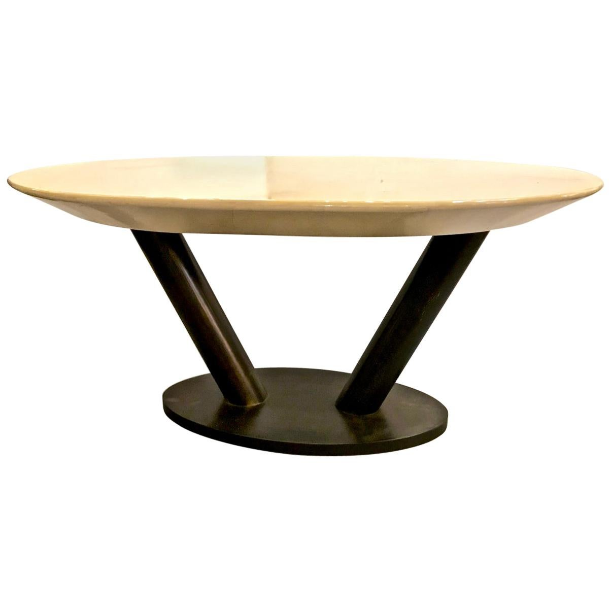 Karl Springer Lacquered Goatskin Table