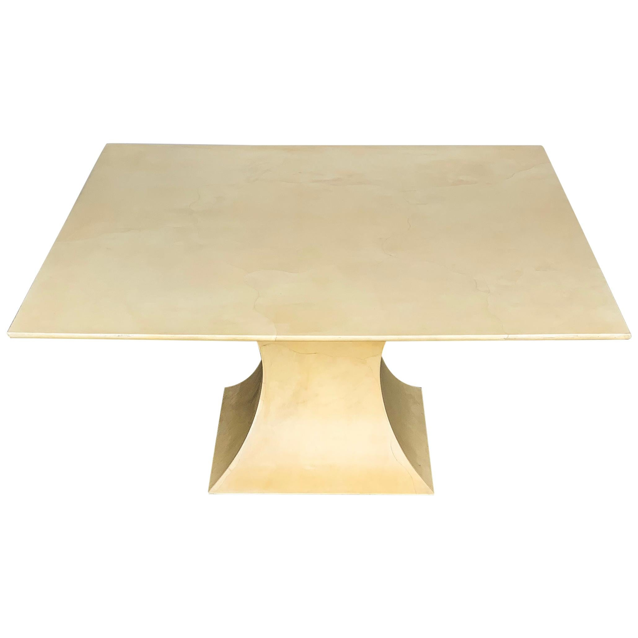 Karl Springer Lacquered Square Goatskin Parchment Dining Table