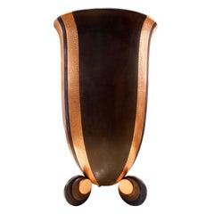 Karl Springer Large Bronze and Copper Art Deco Vase, 1980s
