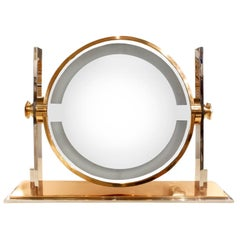 Karl Springer Large Illuminating Vanity Mirror, 1980s