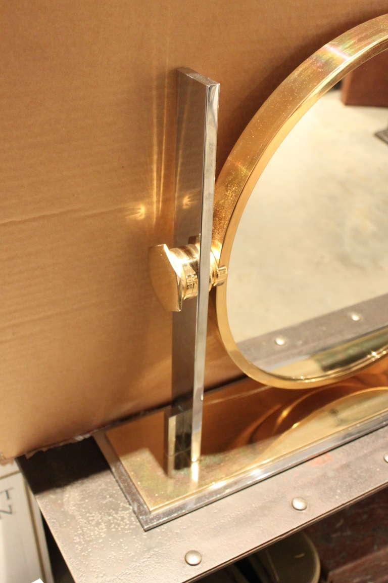 American Karl Springer Large Size Table Top Vanity Mirror, 1970 For Sale