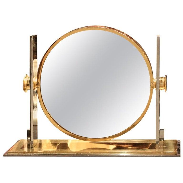 Karl Springer Large Size Table Top Vanity Mirror, 1970 For Sale