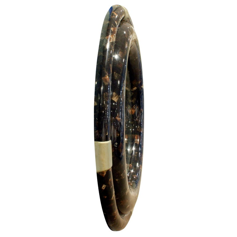 Mid-Century Modern Karl Springer Large Wall Hanging Mirror in Tessellated Horn, 1970s For Sale