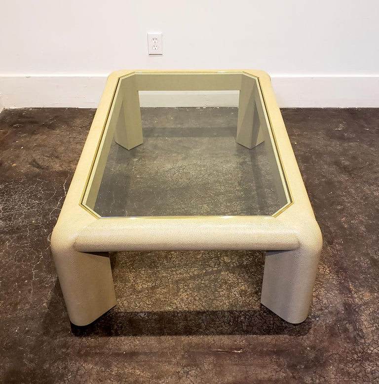 Karl Springer Leather and Glass Coffee Table Signed In Good Condition For Sale In Dallas, TX