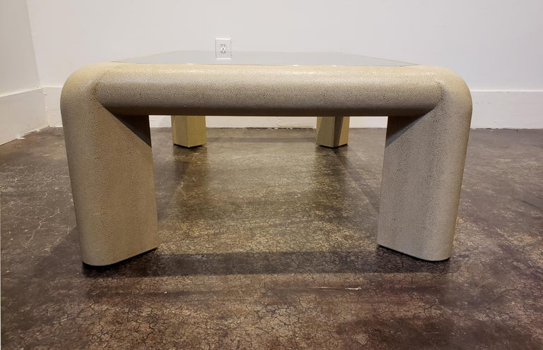 Late 20th Century Karl Springer Leather and Glass Coffee Table Signed For Sale
