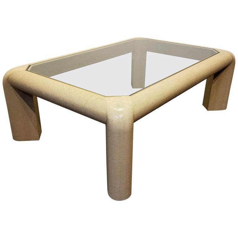 Karl Springer Leather and Glass Coffee Table Signed For Sale