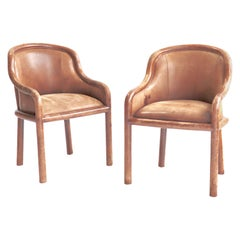 Karl Springer Leather Clad Armchairs