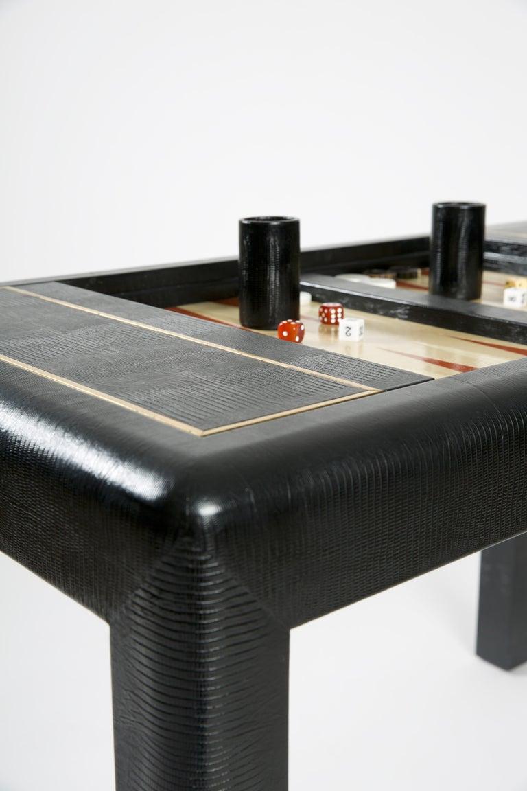 Modern Karl Springer Leather-Clad Game Table For Sale