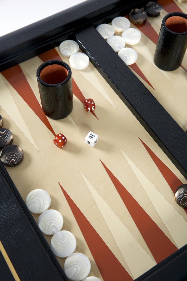 North American Karl Springer Leather-Clad Game Table For Sale