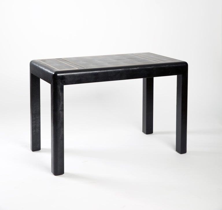 Hand-Crafted Karl Springer Leather-Clad Game Table For Sale