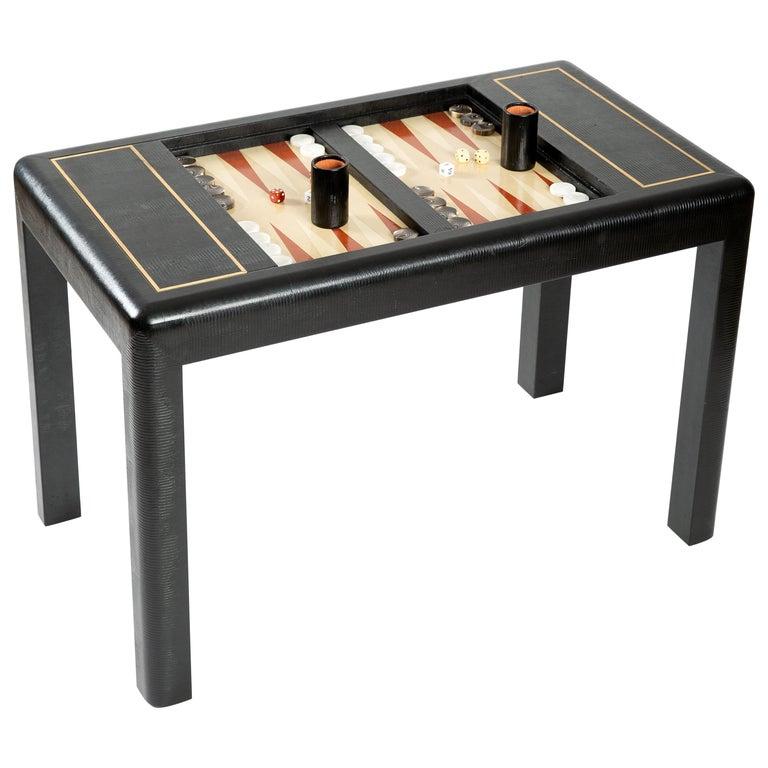 Karl Springer Leather-Clad Game Table For Sale