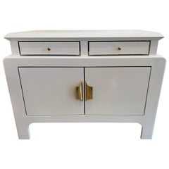 Light Gray Newly Refurbished Chinoiserie Style Chest Commode