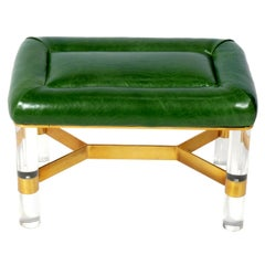 Karl Springer Lucite Brass and Green Leather Bench