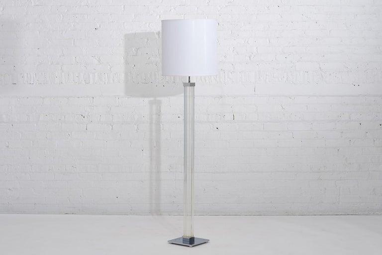 Karl Springer Lucite floor lamp, circa 1970. Chrome base.