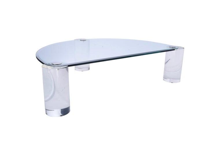 Post-Modern Karl Springer Lucite Sculpture Leg Coffee Table For Sale