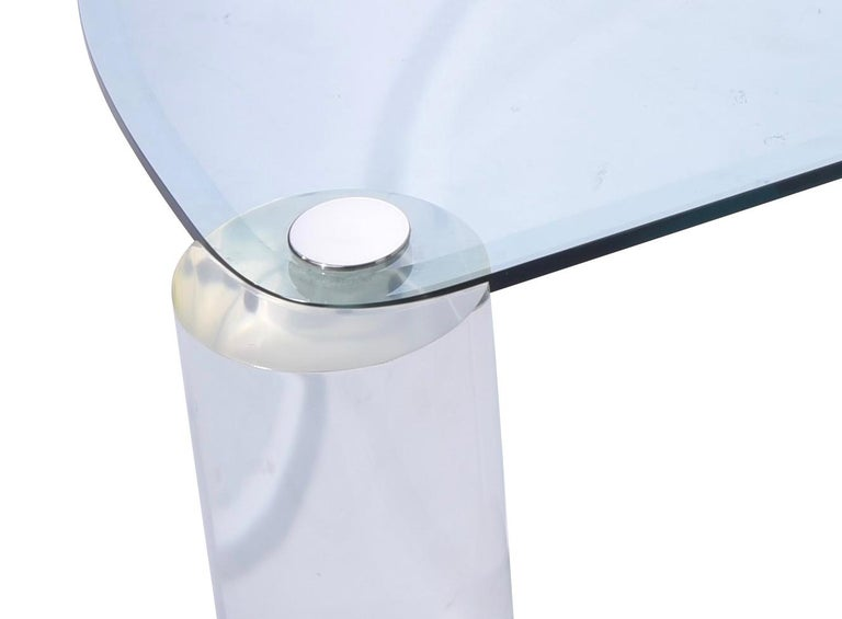 American Karl Springer Lucite Sculpture Leg Coffee Table For Sale