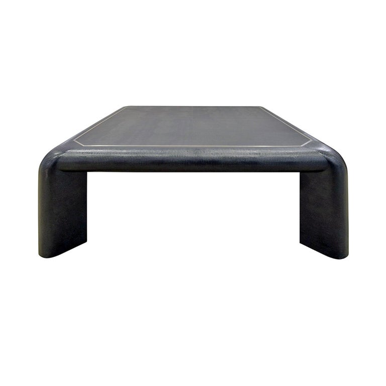 """Karl Springer """"Mark II"""" Coffee Table in Black Lizard Leather 1989 'Signed' For Sale"""