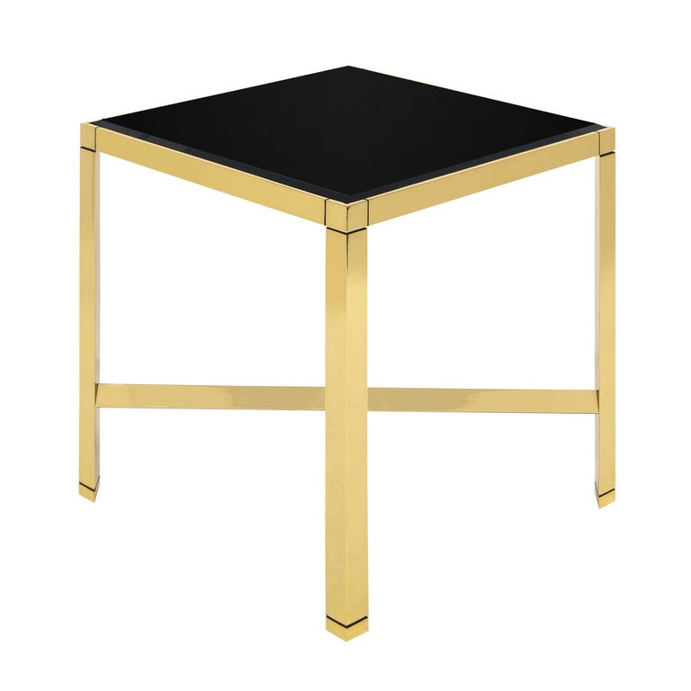 Modern Karl Springer Brass End Table with Beveled Black Glass Top 1980s For Sale