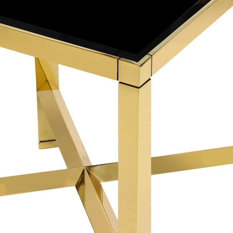Hand-Crafted Karl Springer Brass End Table with Beveled Black Glass Top 1980s For Sale