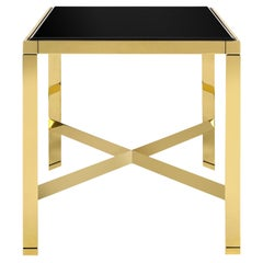 Karl Springer Metal End Table in Brass with Black Glass Top 1980s