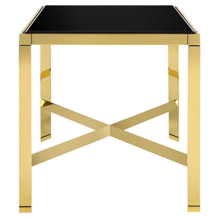 Karl Springer Brass End Table with Beveled Black Glass Top 1980s For Sale