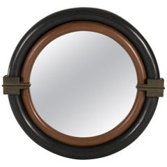 Karl Springer Mirror with Bronze Pediments