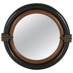 Karl Springer Mirror with Bronze Pediments