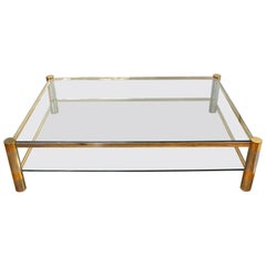 Karl Springer Modern Cocktail Table in Brass and Nickel with Glass Tiers