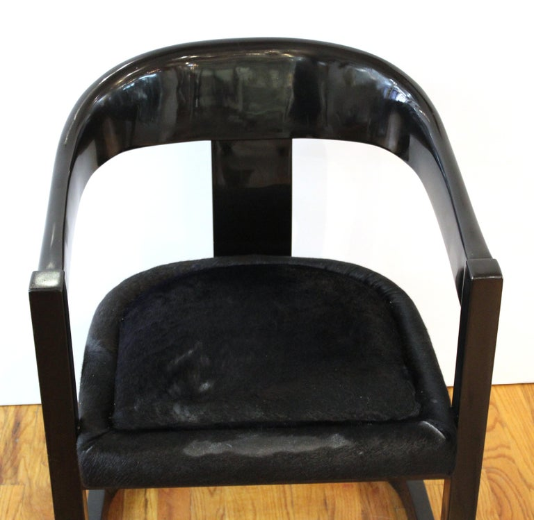 Karl Springer Modern 'Onassis' Black Lacquer Armchairs with Pony Hair Seats For Sale 4