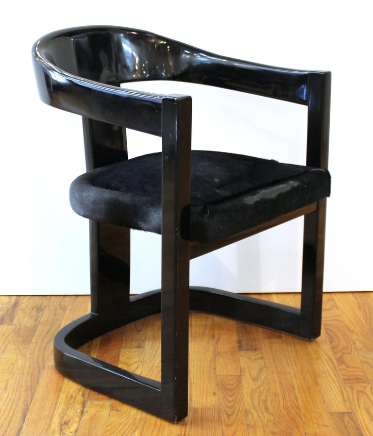 Karl Springer set of six Modern 'Onassis' armchairs with black lacquer surface and original pony hair upholstered seats. In great vintage condition with age-appropriate wear and use. Measures: 30