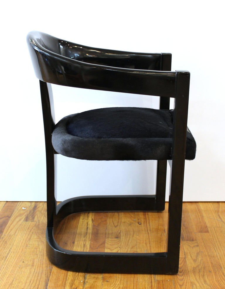 American Karl Springer Modern 'Onassis' Black Lacquer Armchairs with Pony Hair Seats For Sale