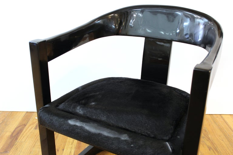 Upholstery Karl Springer Modern 'Onassis' Black Lacquer Armchairs with Pony Hair Seats For Sale