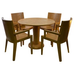 Karl Springer Modern Round Table and Armchairs in Faux Lizard Embossed Leather