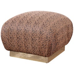 Karl Springer Modern Soufflé Pouf or Ottoman in Leopard Print and Brass, 1970s