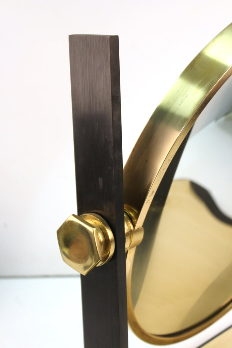 Brass Karl Springer Modern Vanity or Table Mirror For Sale
