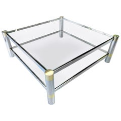 Karl Springer Nickel and Brass Coffee Table, Signed