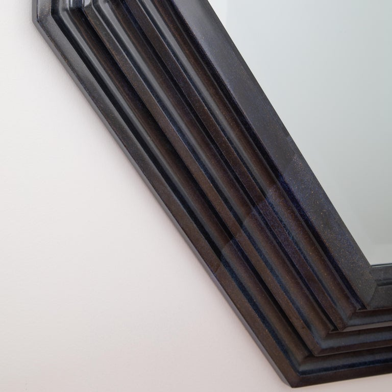 Karl Springer Octagonal Mirror in a Faux-Lapis Lacquer Finish, circa 1989 For Sale 4