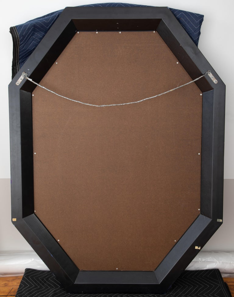 Karl Springer Octagonal Mirror in a Faux-Lapis Lacquer Finish, circa 1989 For Sale 9