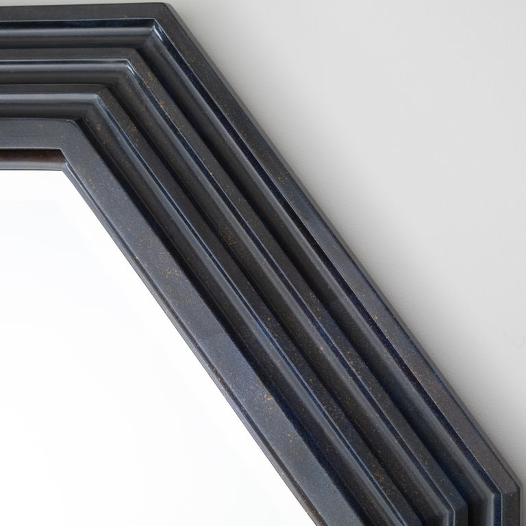 Beveled Karl Springer Octagonal Mirror in a Faux-Lapis Lacquer Finish, circa 1989 For Sale