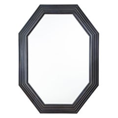 Karl Springer Octagonal Mirror in a Faux-Lapis Lacquer Finish, circa 1989