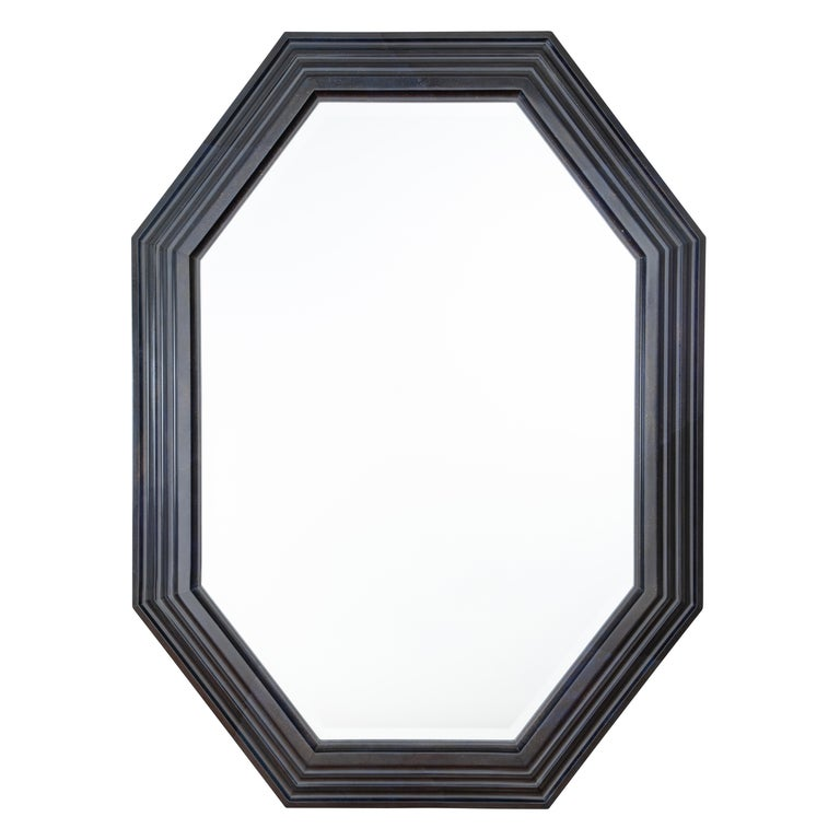 Karl Springer Octagonal Mirror in a Faux-Lapis Lacquer Finish, circa 1989 For Sale