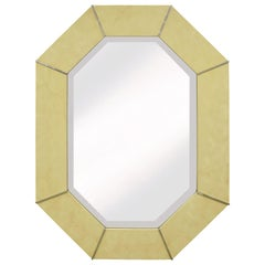 Karl Springer Octagonal Mirror in Ivory Lacquer with Chrome Accents, 1970s