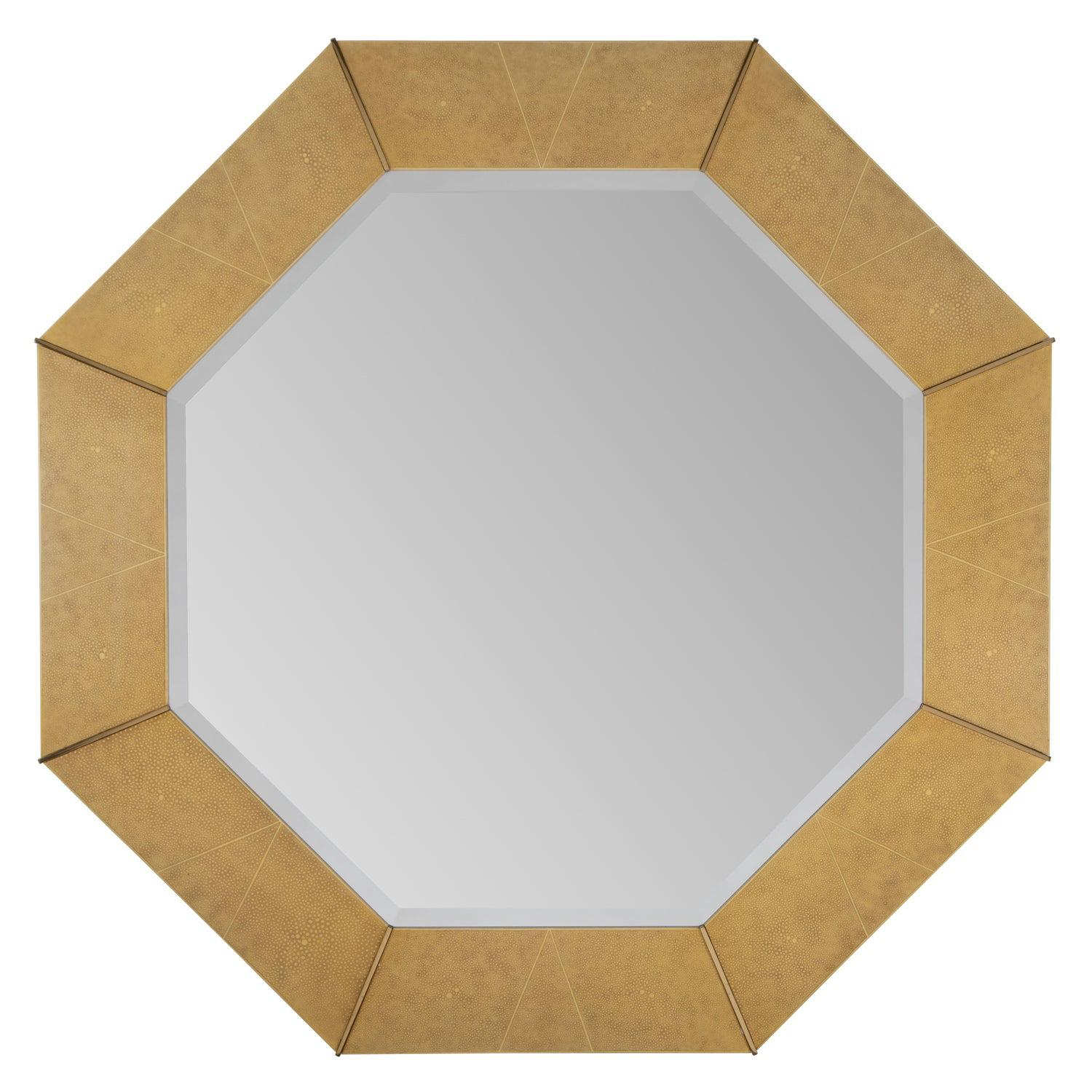 Karl Springer Octagonal Mirror in Shagreen Lacquer with Brass Accents, 1980s