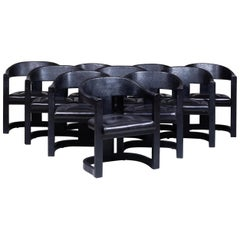 Karl Springer Onassis Chair in Black Leather & Faux-Ostrich, Set of 10