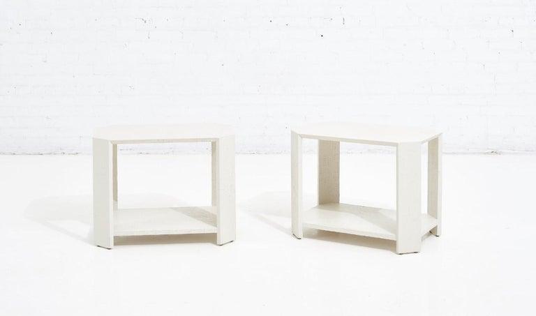 Karl Springer pair grasscloth side/end tables, 1970.
