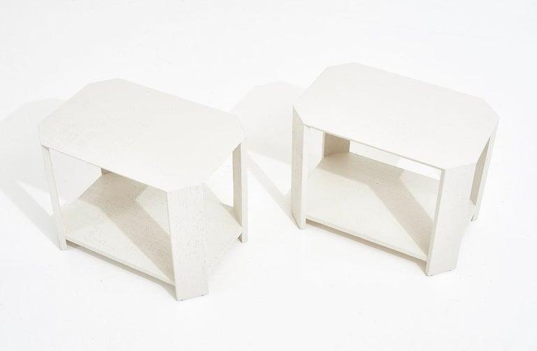 North American Karl Springer Pair Grasscloth Side Tables, 1970 For Sale