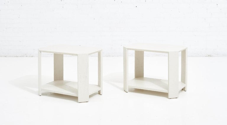 Karl Springer Pair Grasscloth Side Tables, 1970 In Excellent Condition For Sale In Chicago, IL