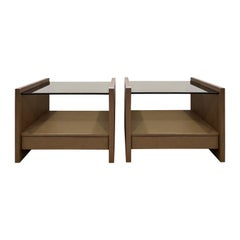Karl Springer Pair of Bedside Tables in Emu Leather and Bronze Glass Tops, 1980s