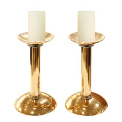 Karl Springer Pair of Candle Holders in Gold and Chrome 1980s