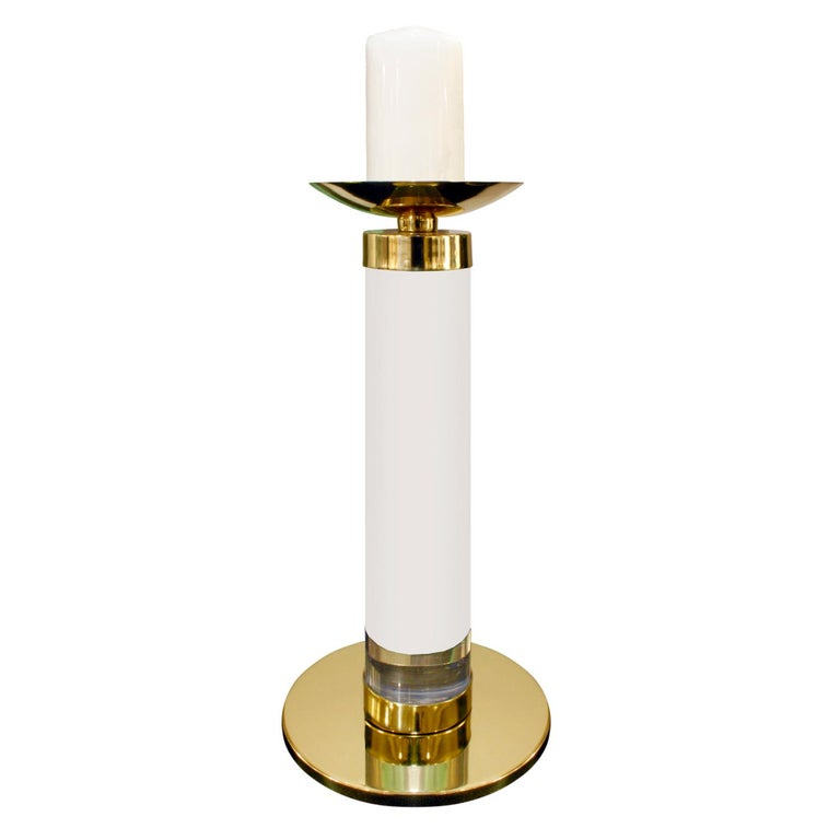 Mid-Century Modern Karl Springer Pair of Candleholders in Lucite and Brass, 1970s For Sale